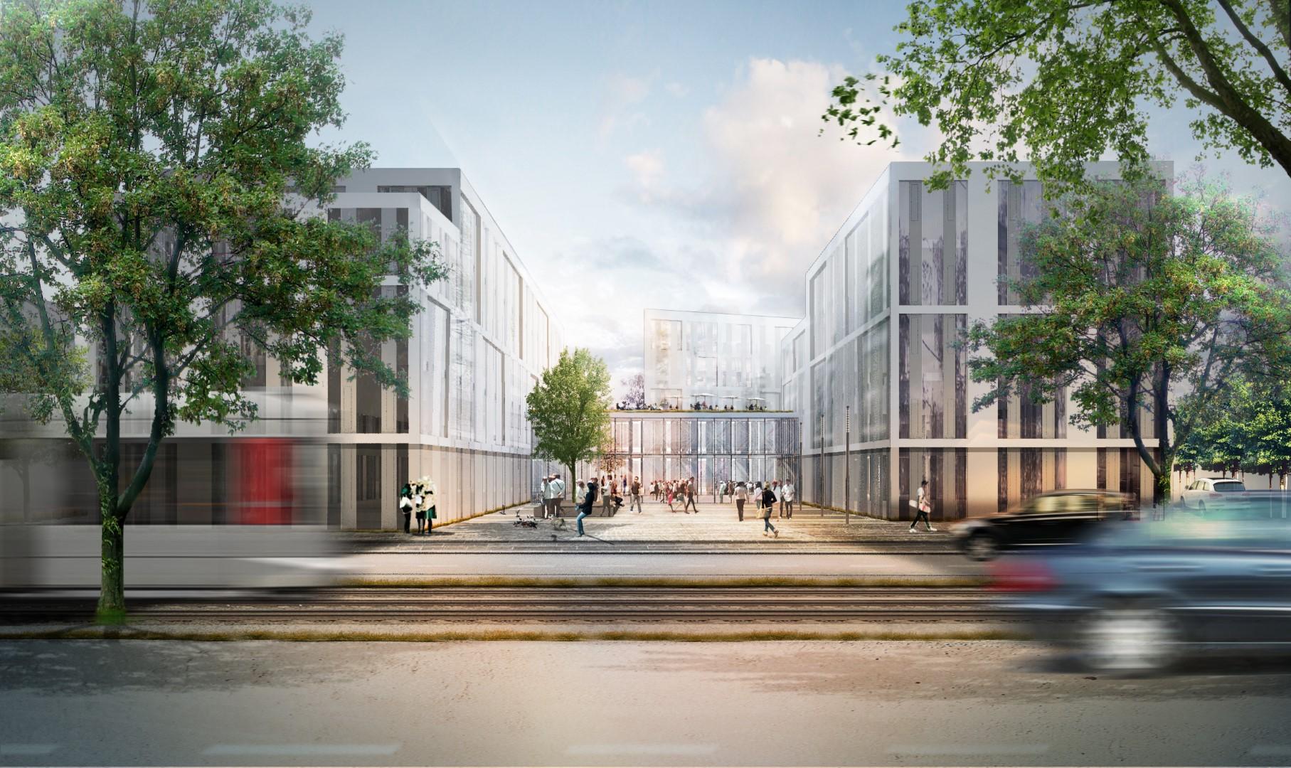 Visualisierung Neubau Bürogebäude Architektur