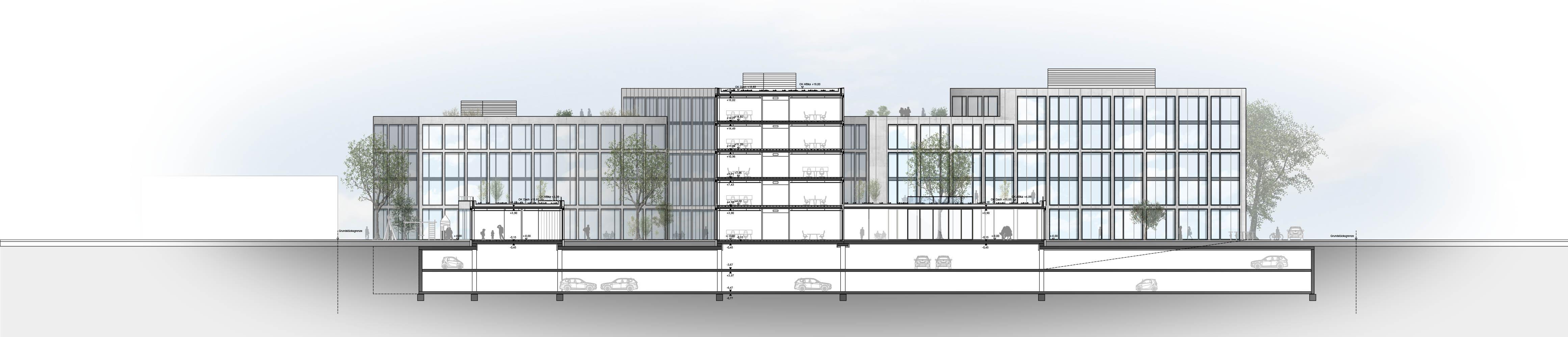 Schnitt Bürogebäude Architektur