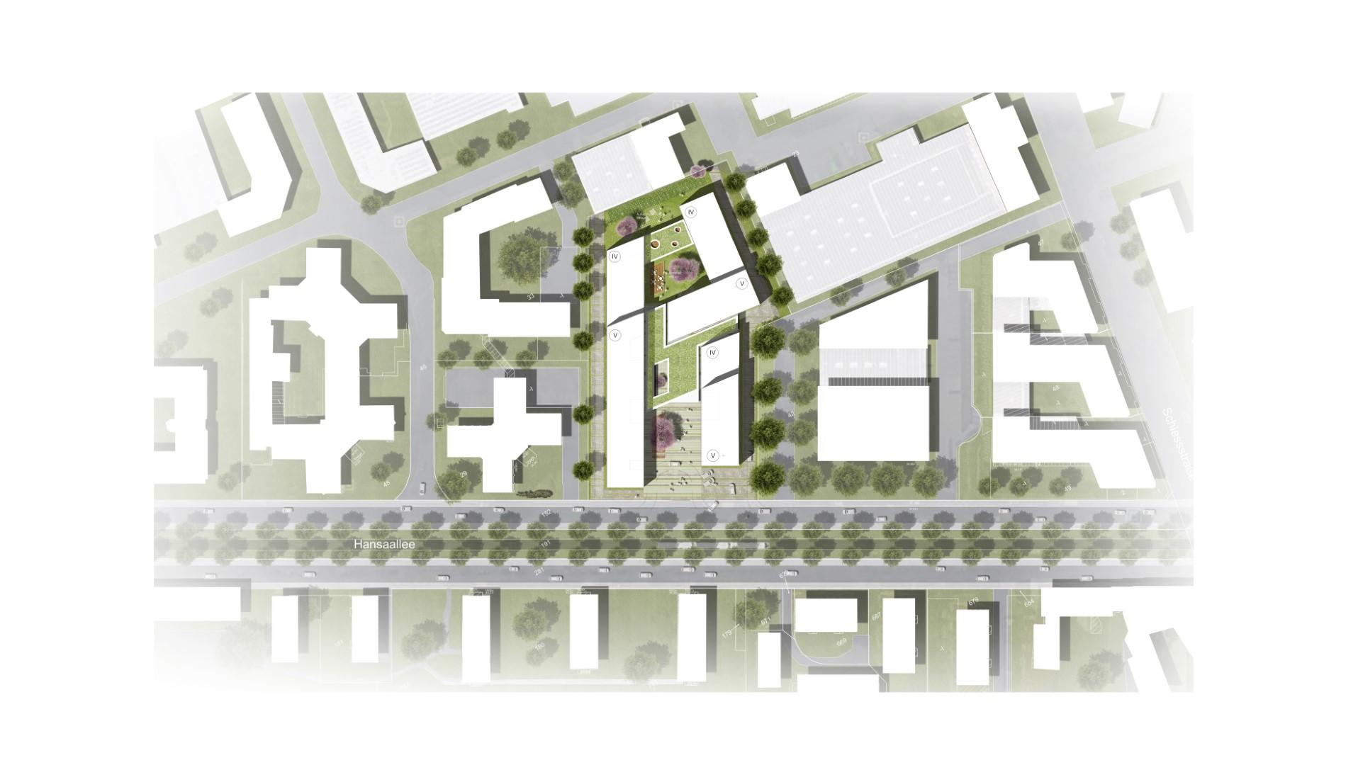 Neubau Bürogebäude Architektur Lageplan